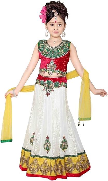 4970baf941 Amazon.com: Angelic White Designer Kids Lehenga Choli (26): Clothing