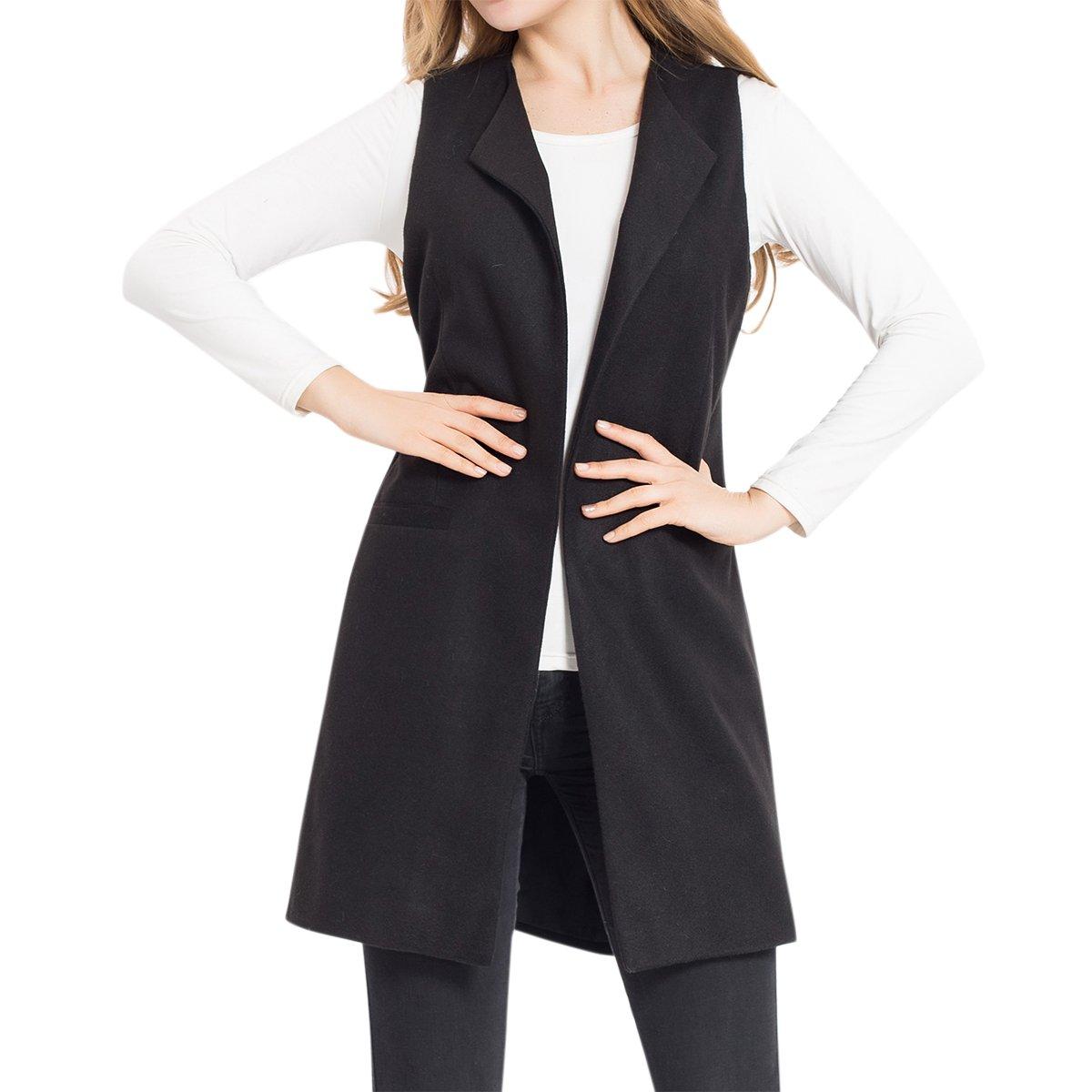 Cekaso Women's Blazer Vest Slim Fit Open Front Lapel Longline Solid Suit Vest Coat, Black, USsizeM=TagsizM