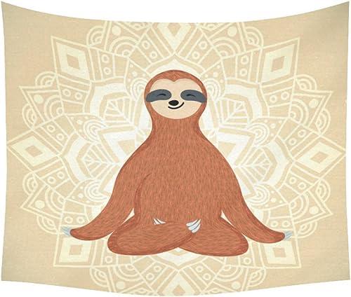 INTERESTPRINT Funny Animals Home Decor Wall Art, Mandala Hippie Sloth Tapestry Wall Hanging Art Sets 60 X 51 Inches