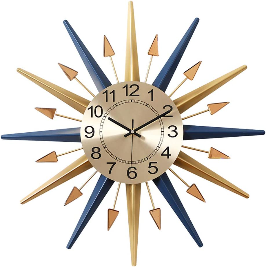 Shisedeco Mid Century Instruments Satellite Metal Crystal Wall Clock Large Starburst Decoration For Home Kitchen Living Room Office Classic Blue 22 Home Kitchen