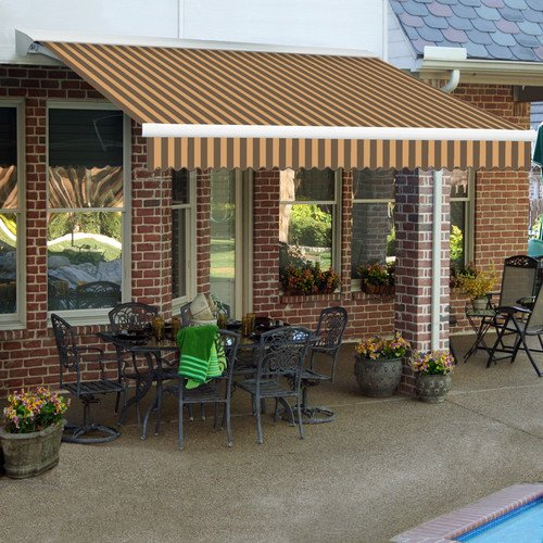 Awntech 20-Feet Destin LX with Hood Right Motor/Remote Retractable Acrylic Awning, 120-Inch Projection, Brown/Tan ()