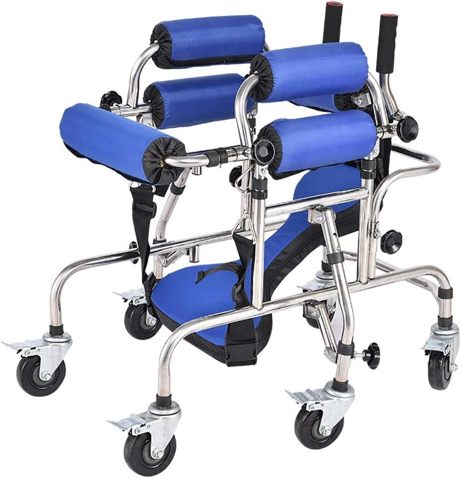 Wheelchair Niño Plegable asistida Walker, Ruedas de pie Paseo Paseo Soporte Ayuda/Soporte del Marco con el Asiento de Rehabilitación de Ruedas de Altura Regulable para la parálisis Cerebral Infantil