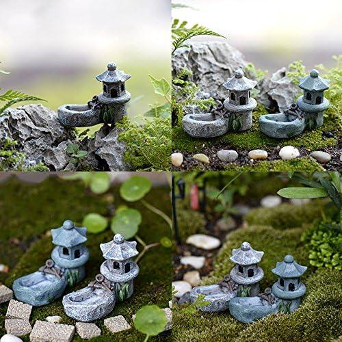 SNNplapla Figura decorativa para jardín, diseño de torre de estanque de resina, ideal para decoración de jardín, miniaturas, terrario: Amazon.es: Jardín