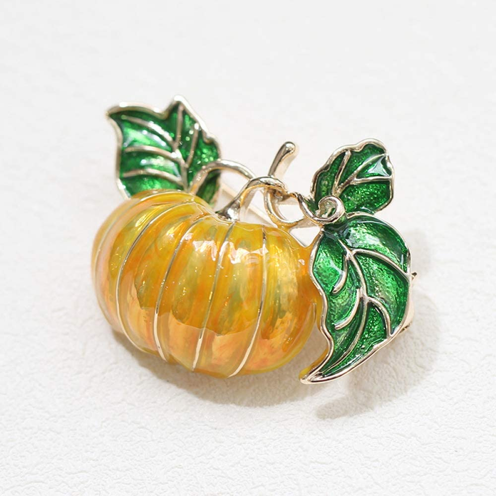 Sxuefang Brooch Yellow Pumpkin Brooch Simple Drip Oil Plant Brooch Male and Female Pin