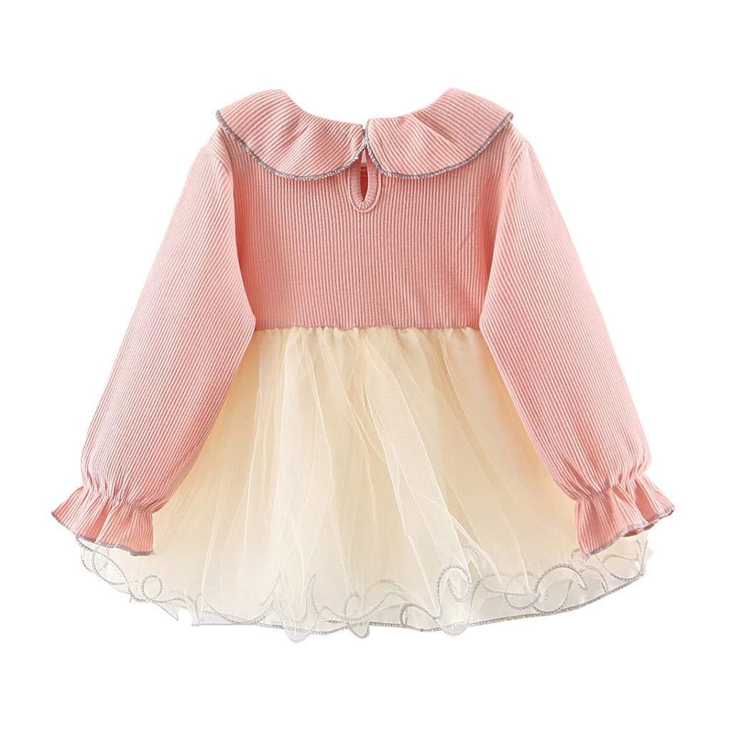 Zegeey Kind M/äDchen Kleid R/üSchen Spitze T/üLl Patchwork Blume Casual Langarm Kleider Geburtstag Geschenk
