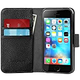 iPhone SE Case, [Wallet Case] SupcaseKickStand Apple iPhone SE 2016 Release/Compatible with iPhone 5S/5 [Kickstand] Leather Cover with Credit Card ID Holders (Black)