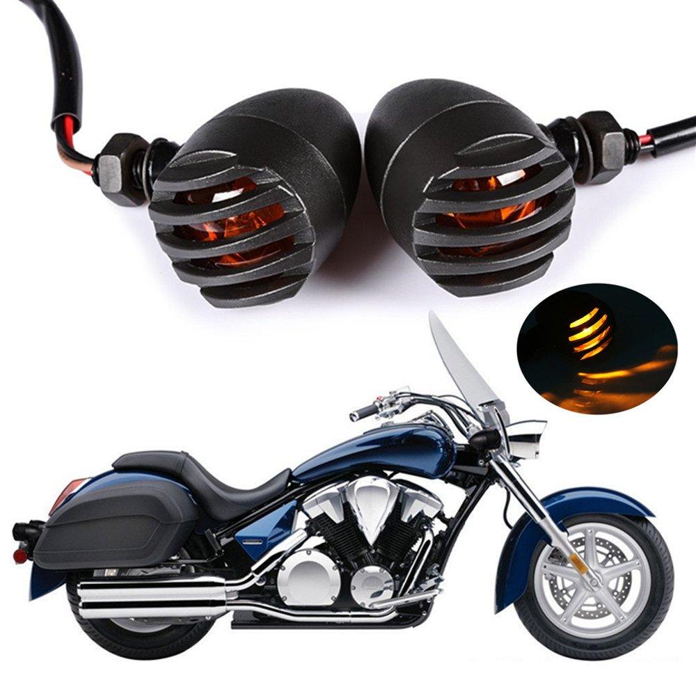 2PCS Heavy Duty Aluminum Motorcycle Turn Signal Light Lndicator Halogen Grill Amber Bulb Bullet Motorbike For Harley Kawasaki Yamaha KTM Dyna Chopper Sportster Cafe Racer Honda Suzuki BMW Parts(Black)