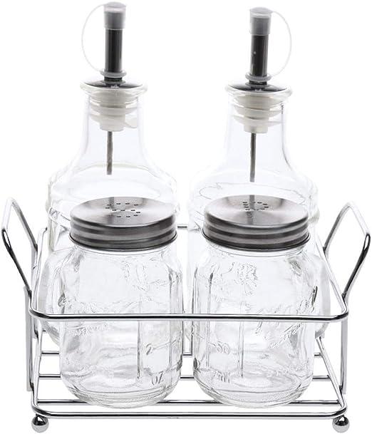 Juego de 5 piezas de vidrio cromado para crucero Aceitera y vinagre y salero y pimentero Mason Jars en un soporte de estante