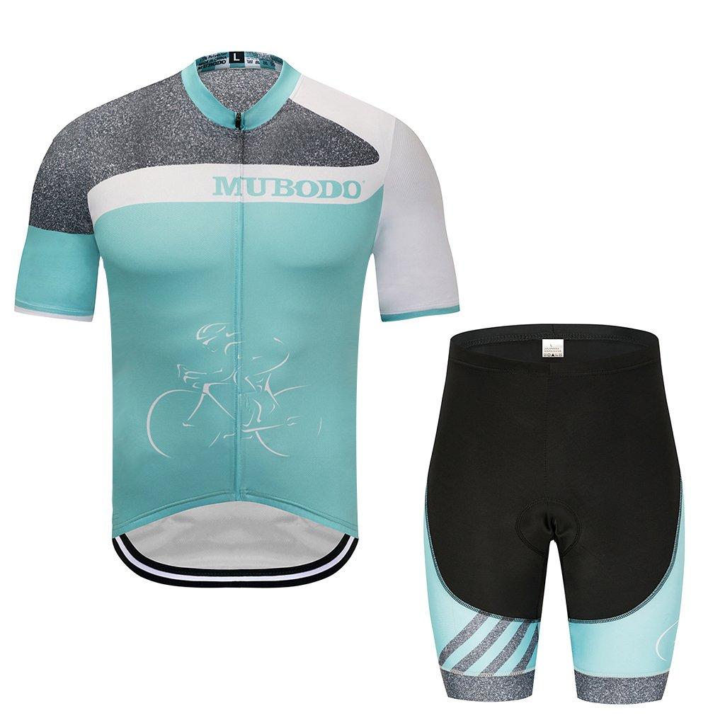 G WELL Herren Radtrikot Set Atmungsaktiv Fahrradbekleidung Trikot Kurzarm + Radhose mit Sitzpolster
