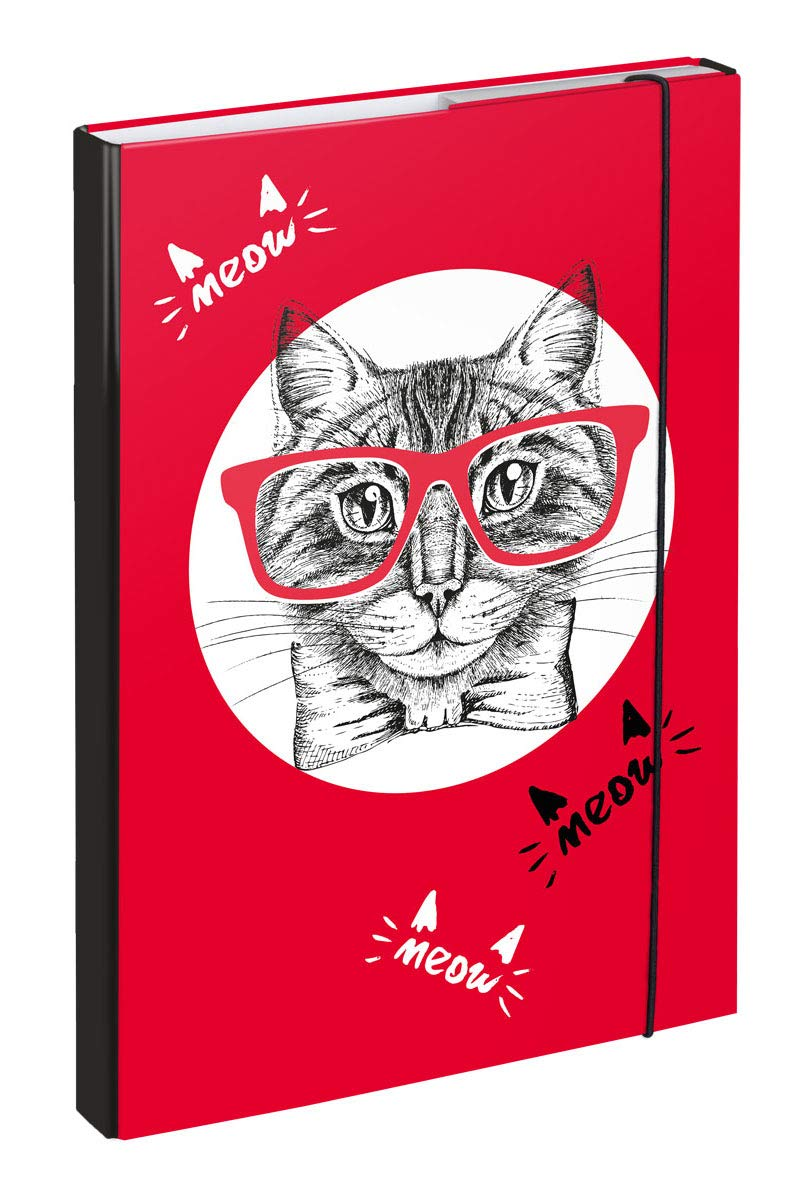 Cat Baagl Heftbox f/ür Schulranzen A4 Sammelbox mit Gummizug f/ür M/ädchen Heftmappe Sammelmappe f/ür Kinder mit Gummiband und Innenklappen
