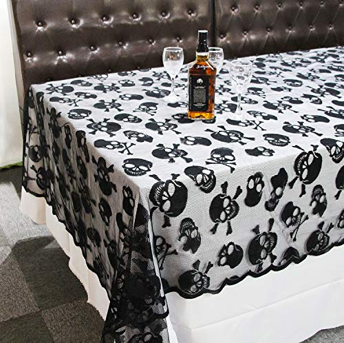 CrtWorld Halloween Tablecloth 60X104 Inch Skull Lace Table Cover for Halloween Home Kitchen Decoration(Tablecloth)]()