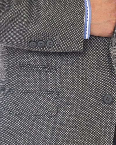 Luciano Natazzi Mens 2 Button 160'S Wool Blazer Working Button Holes Suit Jacket (44 Regular US / 54 Regular EU, Charcoal) by Luciano Natazzi (Image #3)
