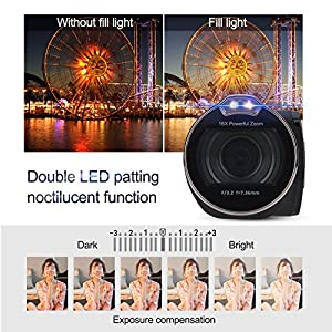 Acouto 24MP Full HD 1080P 24MP 16 Times Digital Zoom Rotatable Screen Camera Video Camcoder from Acouto