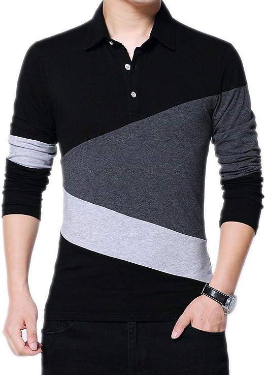 Otoño e Invierno de los Hombres de los Hombres de Manga Larga Camiseta otoño a Cuadros Costura Camiseta algodón Camiseta: Amazon.es: Ropa y accesorios