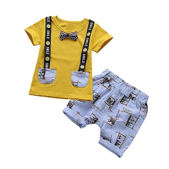 2018 Nuovi Bambini ❤ ❤ Cartoon Letter Smile Maglietta Stampata Tops +  Pantaloncini Pantaloni ❤ ❤ 2 Pc Abiti Abbigliamento Set per Neonato Baby ... 202f3eed294