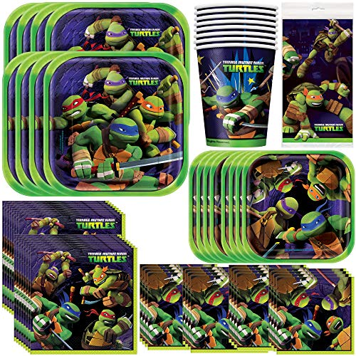 Unique Teenage Mutant Ninja Turtles Party Bundle | Luncheon amp Beverage Napkins Dinner amp Dessert Plates Table Cover | Great for Animated/Superhero Birthday Themed Parties