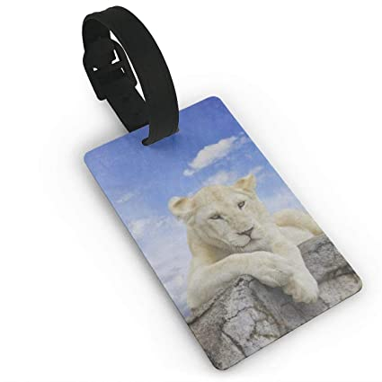 Amazon com | Luggage Tags White Lion With Blue Sky Travel