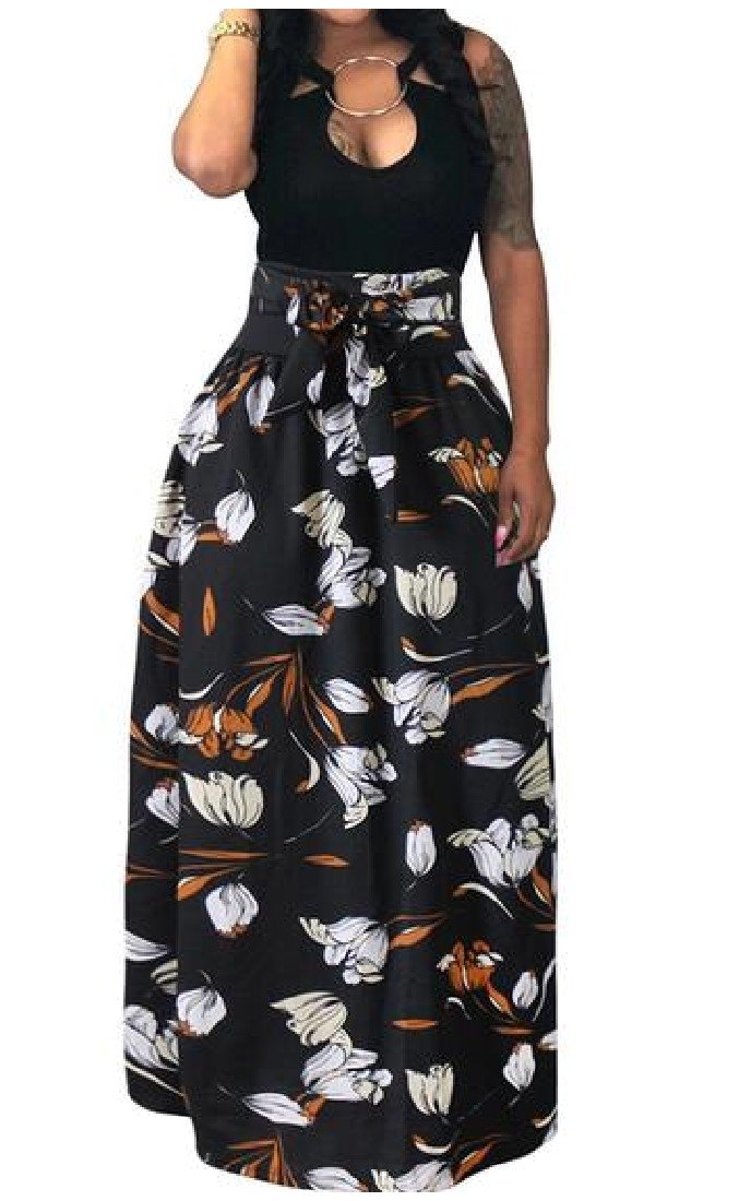 Abetteric Women Plus-Size Waist Belt Big Hem Wild Ethnic Print Pleated Maxi Skirt AS4 XS