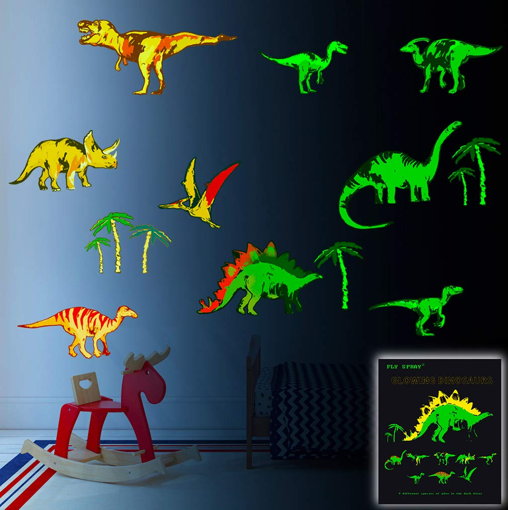 FLY SPRAY Glow in The Dark Dinosaur Wall Stickers for Boys Room 9 Piece Large Removable Dino Decals Decor for Bedroom Living Room Classroom Wall Colorful Mural for Kids Baby Nursery Teens