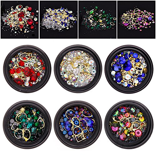 Ownsig 6 Wheels Mixed Nail Art Rhinestones Diamonds Crystals Beads Gems for DIY Decor 01# by Ownsig