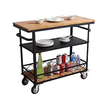 Y.H_Super Carros de Servicio Retro Comedor de Almacenamiento Hogar Trolley Estante Cocina Restaurante Comedor Car Mueble Estante (Tamaño : A): Amazon.es: ...