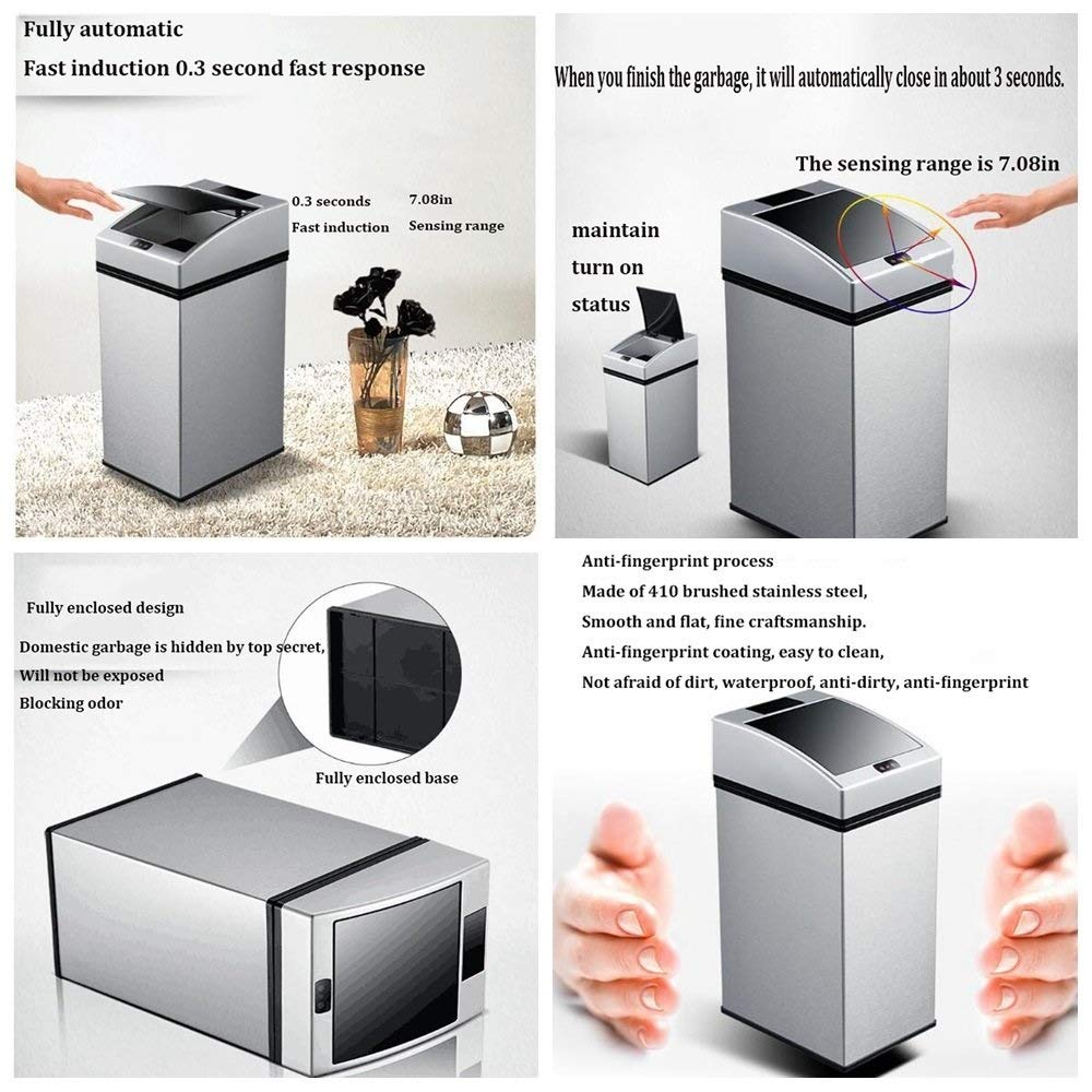YFQ Intelligent Induction Trash Can with Cover Stainless Steel Trash Can Rechargeable Battery Dual-use Trash Can Home Office Automatic Trash Can 7L