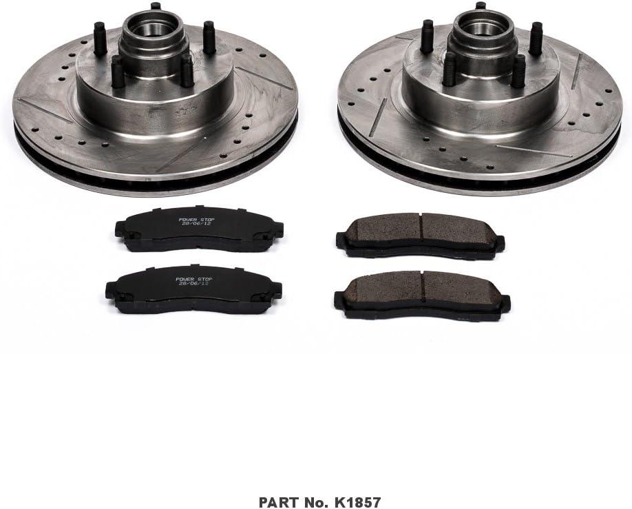 FRONT KIT Black Hart *DRILLED /& SLOTTED* Disc Brake Rotors Ceramic Pads F1857