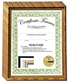 Creative Picture Frames 8.5x11 or 11x8.5 inch Professional Decorative Gold Leaf Business License Certificate Frame, Self Standing Portrait or Landscape with Wall Hanger (4 Pack)