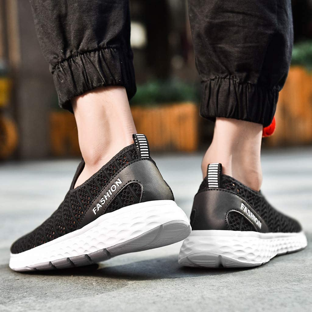 Gleamfut Mens Lightweight Running Shoes Fashion Woven Breathable Mesh Sport Shoes Sneakers
