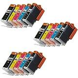 ink4work© Set of 15 Pack PGI-250XL & CLI-251XL Compatible Ink Cartridge Set for Pixma IP7220, MG5420, MG6320, MX722, MX922