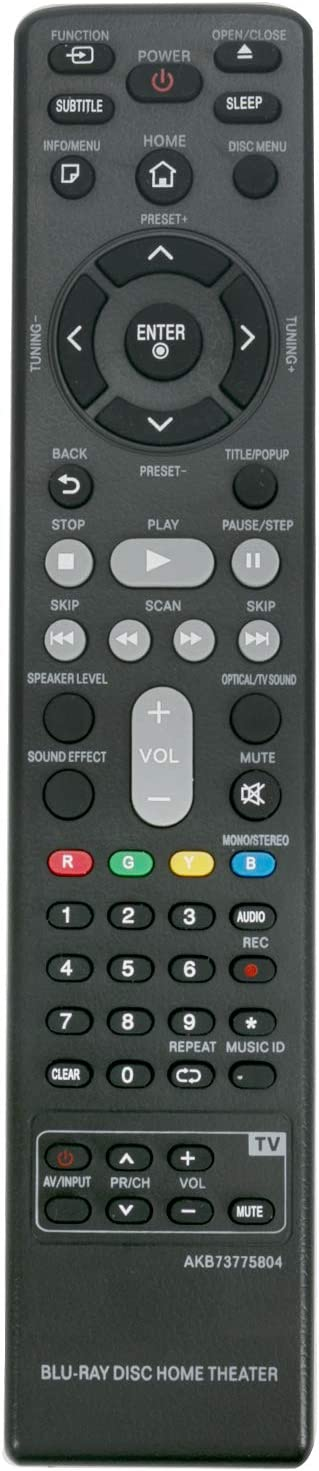 AKB73775804 Replaced Remote Control Work for LG 3D Blu Ray Home Theater Player BH6730 BH6730S BH6830SW LHB655U LH-B655U