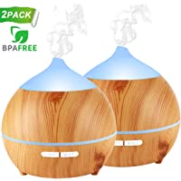 Essential Oil Diffuser XFelectronics 2 pack 250ml Diffusers for Essential Oils Wood Grain Aromatherapy Diffuser Ultrasonic Humidifier with Waterless Auto Shut off, 7 Colors Light for Home Office Baby