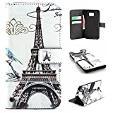 Galaxy S6 Edge Plus Case Wallet,IVY [Cloud Paris Tower][Kickstand Flip Case][Card Slot][Cash Pockets][Magnetic Buckle] Premium PU Leathe Wallet Flip Case For Samsung Galaxy S6 Edge+ SM-G928