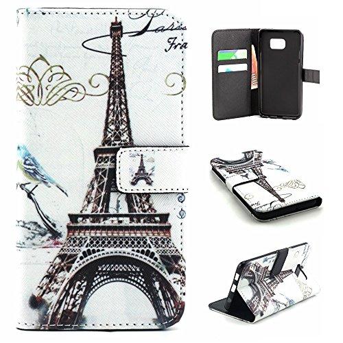 Galaxy S6 Edge Plus Case Wallet,IVY [Cloud Paris Tower][Kickstand Flip Case][Card Slot][Cash Pockets][Magnetic Buckle] Premium PU Leathe Wallet Flip Case For Samsung Galaxy S6 Edge+ SM-G928