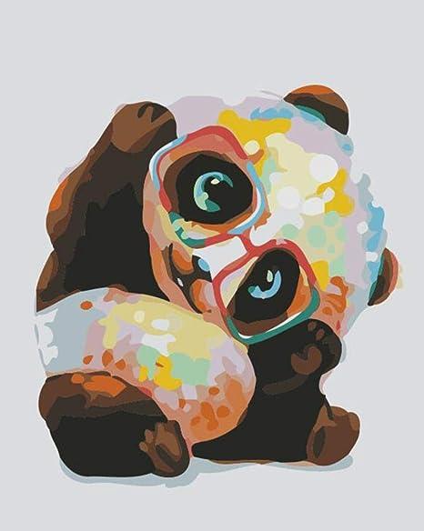 SFALHX Dipingere con i Numeri per Panda DIY Oil Painting Paint by Number Kit per Adulti e Bambini Principianti 16 20 Pollici Natalizie Decorazioni Regali