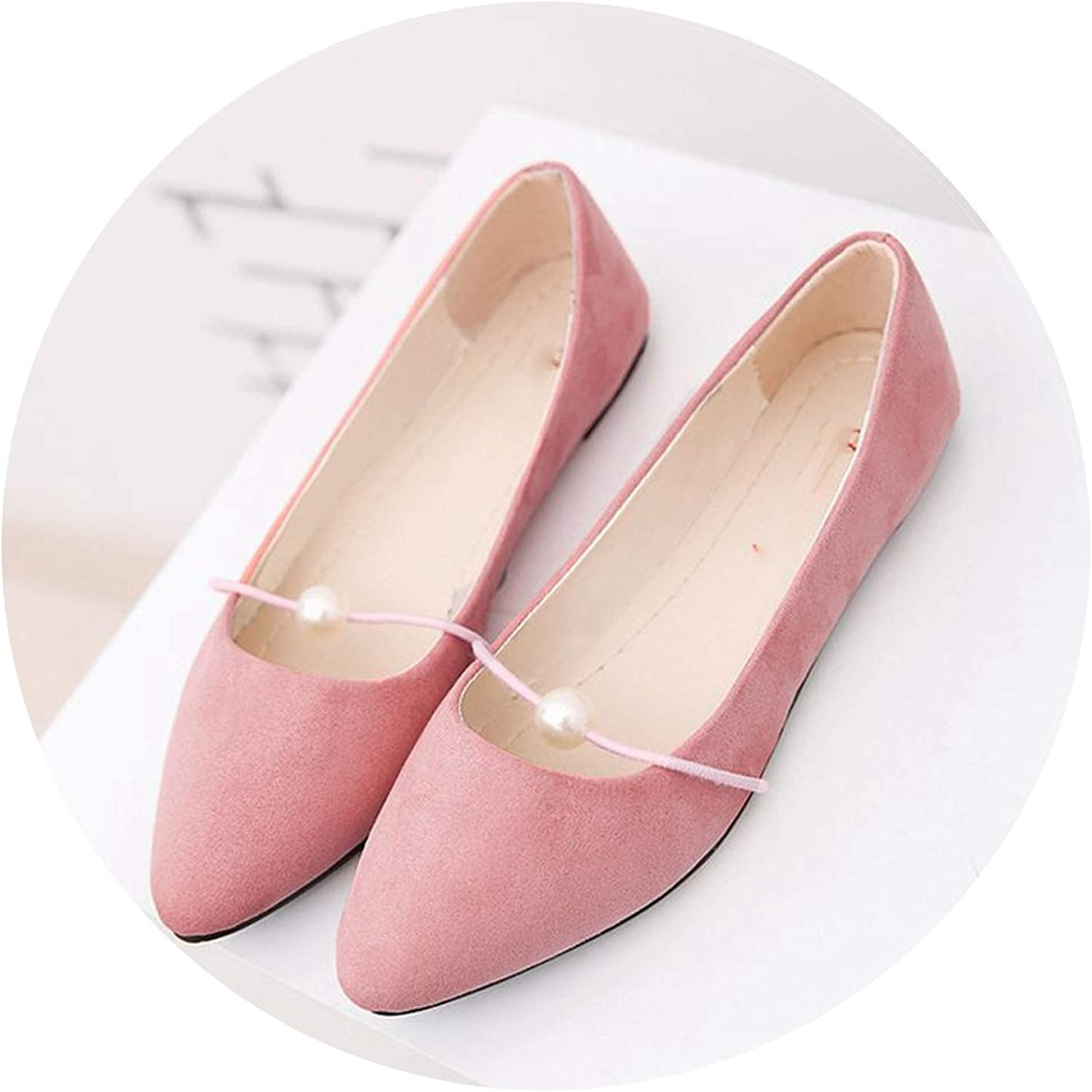 Dress-shop Shallow Flats Womens Suede Flat Heel Pearl Flat Heel Pointed Casual Ladies Flat Shoes,Pink,6.5,US
