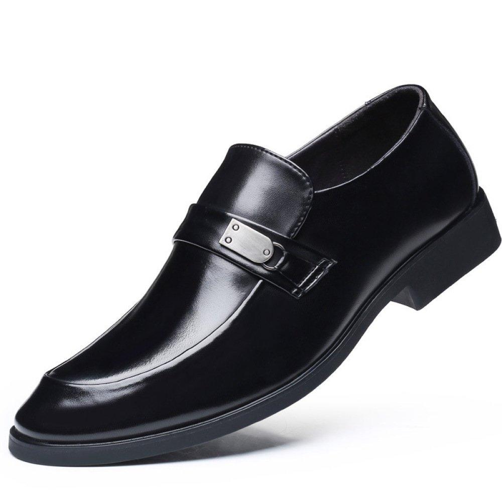 LQV Zapatos De Negocios para Hombres Vestido Brillante Zapatos Negros De Cuero De Alta Calidad Puntiagudos Zapatos Cómodos Y Transpirables Antideslizantes 43 EU|Black