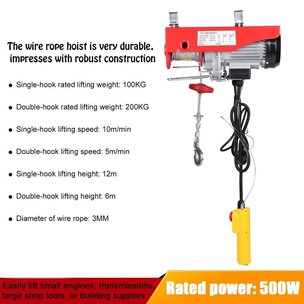 100//200KG Palan /Électrique Treuil avec T/él/écommande pour Maison Atelier Boutique de Garage Treuil /Électrique 230V avec C/âble m/étallique de 12 m