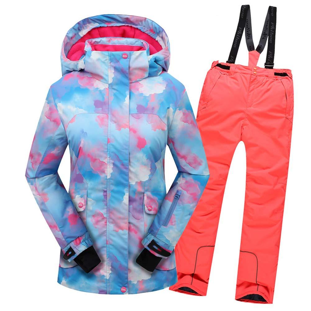 Top Bleu+pantalon Orange 5-6 ans  hauteur recomhommedée 115-120cm LPATTERN Enfant Garçon Fille Combinaison Imperméable de Ski Veste Pantalon épais Ski Doudoune Coupe Hiver 2PCS 2-12ans