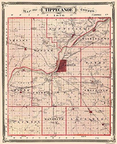 Old County Map - Tippecanoe Indiana Landowner - 1876 - 23 x 28.38 - Matte Art Paper