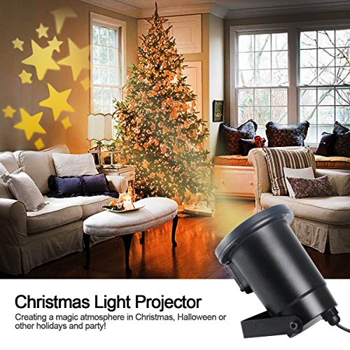 Warm Christmas Scene - Gemtune Moving Warm White Star Lawn LED Flood Projector Light Ceiling Projection Decorative Wall Spot Lights Mood Starry Night Light Lamp for Indoor Outdoor Xmas Christmas Party Thanksgiving Day Home