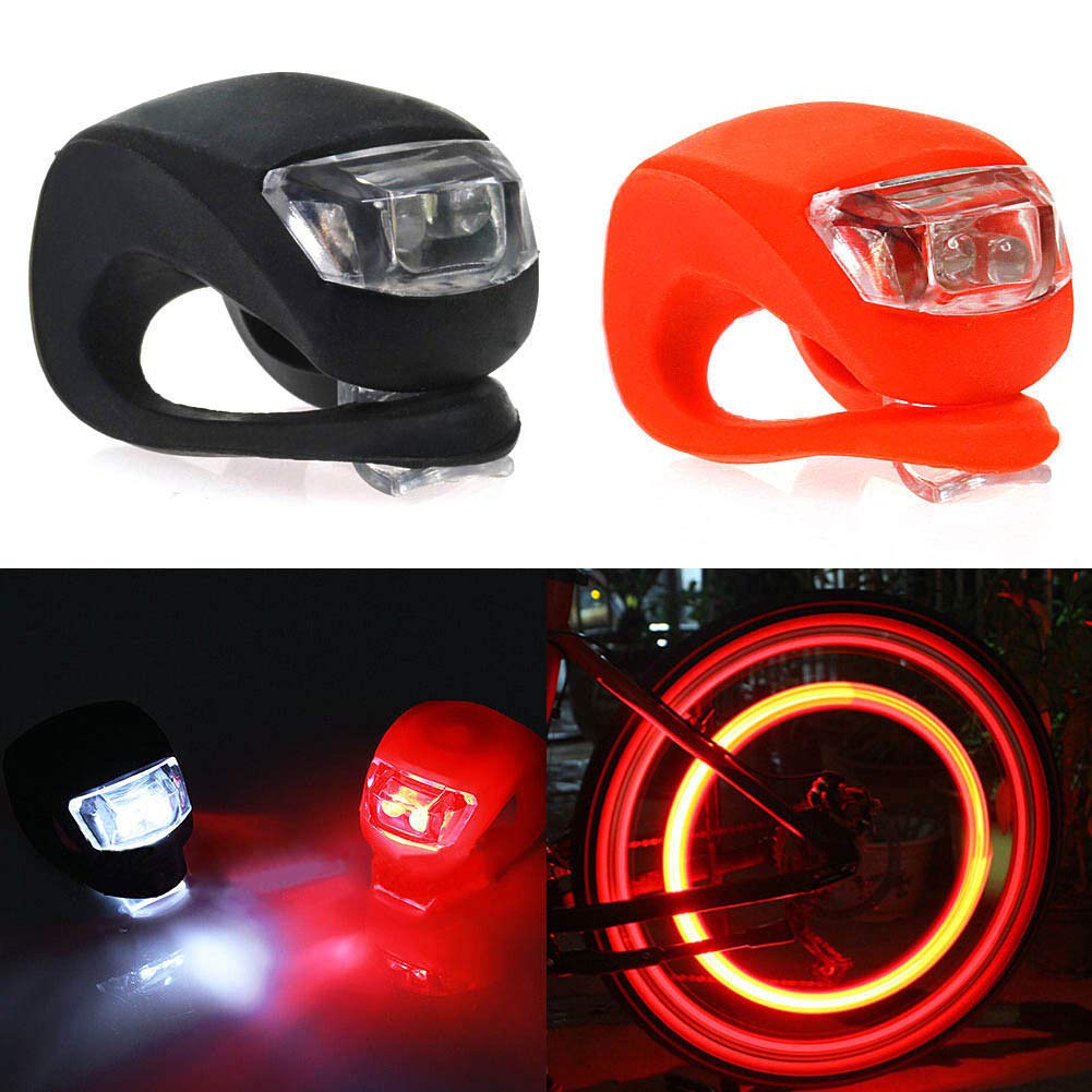 TOOGOO 2 Pcs Silicone Bicycle Bike Cycle Safety LED Head Front and Rear Tail Light Set