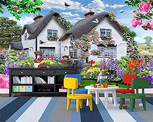 Wallpaper Mural Blue Sky Thatched Cottage Multicolored Small