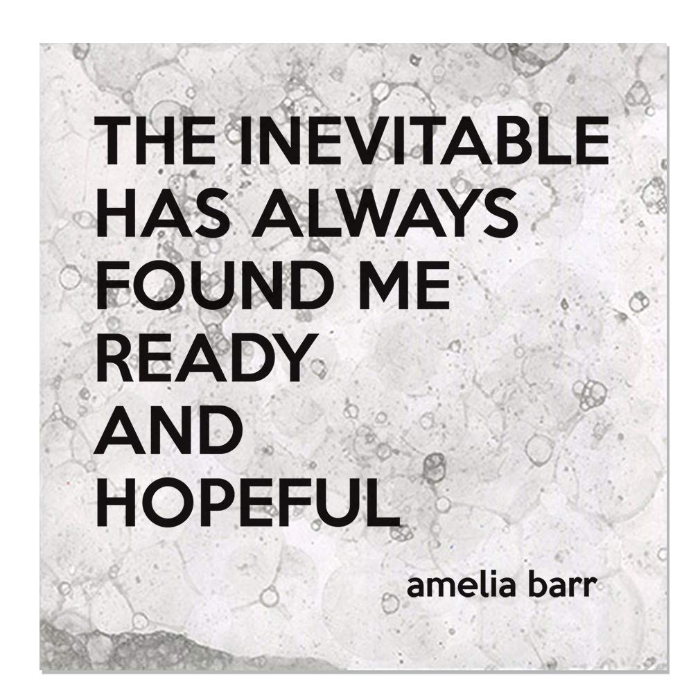 Aluminum Metal Sign Décor The Inevitable Has Always Found Me Ready and Hopeful Novelty Square Wall Art - Light Grey Bubbles, 24''x24''