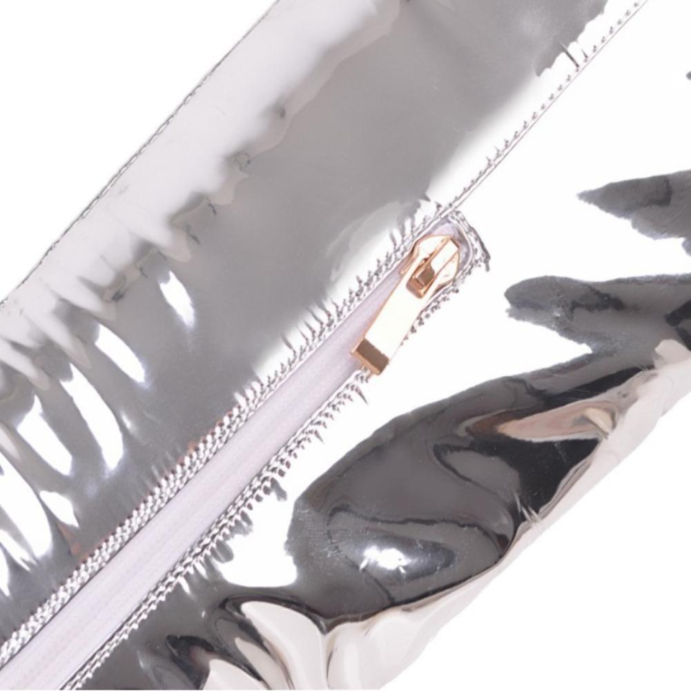 NVXUEZIX Damenschuhe Premium TPU Leder Hohe SchuheSpitze Plateau 9.5cm Hohe Leder Kniestrümpfe Stiletto Spitze-Zehe Silber 485956