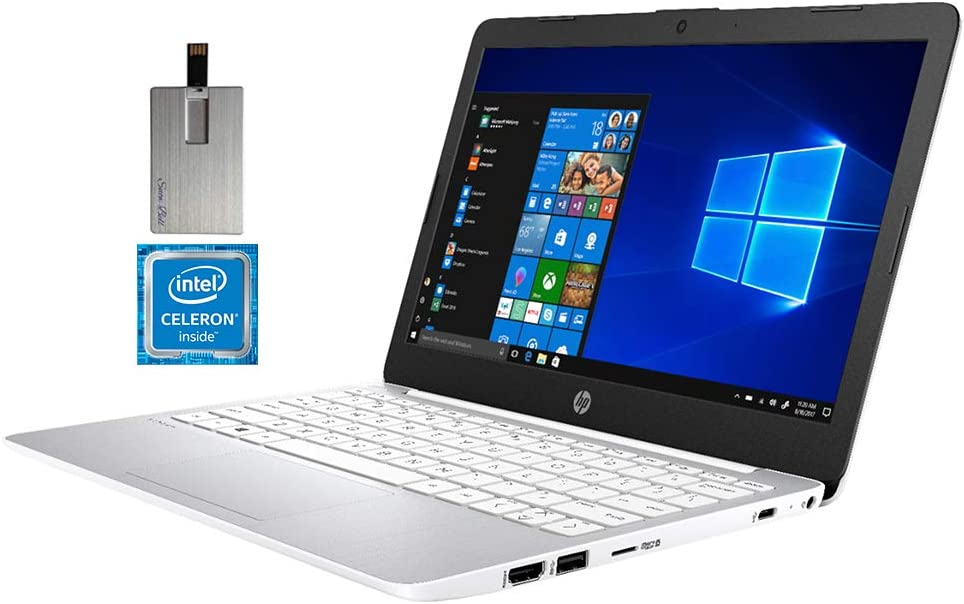 "2020 HP Stream 11.6"" HD Laptop Computer, Intel Celeron N4000 Processor, 4GB RAM, 64GB eMMC Flash Memory, HD Audio, Webcam, Intel UHD Graphics 600, Bluetooth, Win 10 S, White, 32GB SnowBell USB Card"