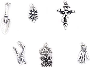 Garden Theme Charms - Silver Plated - Set of 6