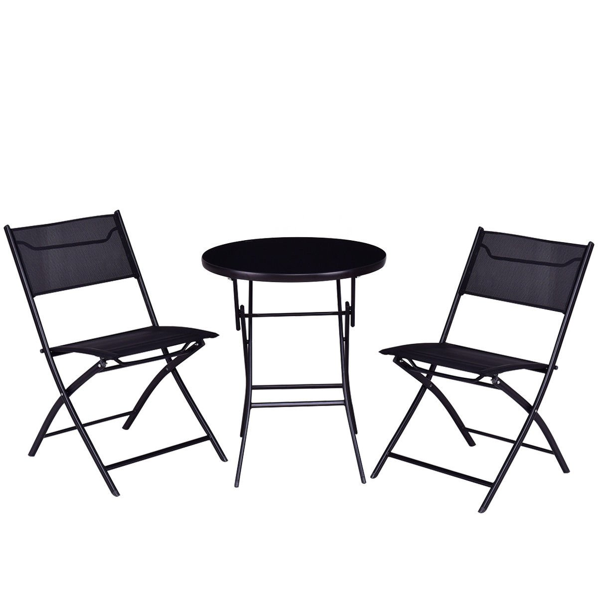 Giantex 3PC Bistro Set Folding Round Table and Chair Set Outdoor Furniture Backyard (Round Table) HW56173