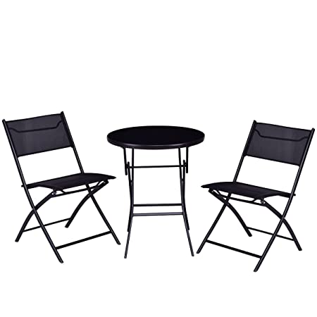 Giantex 3PC Bistro Set Folding Round Table and Chair Set Outdoor Furniture Backyard Round Table