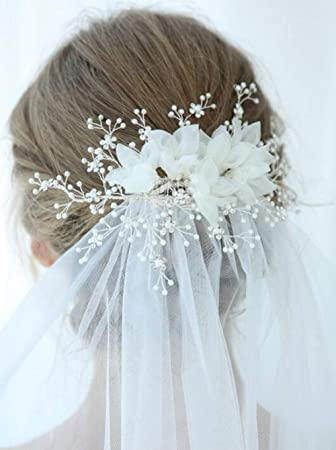 Amazon Com Deniferymakeup 6 9 Hair Clip With Veil Bridal